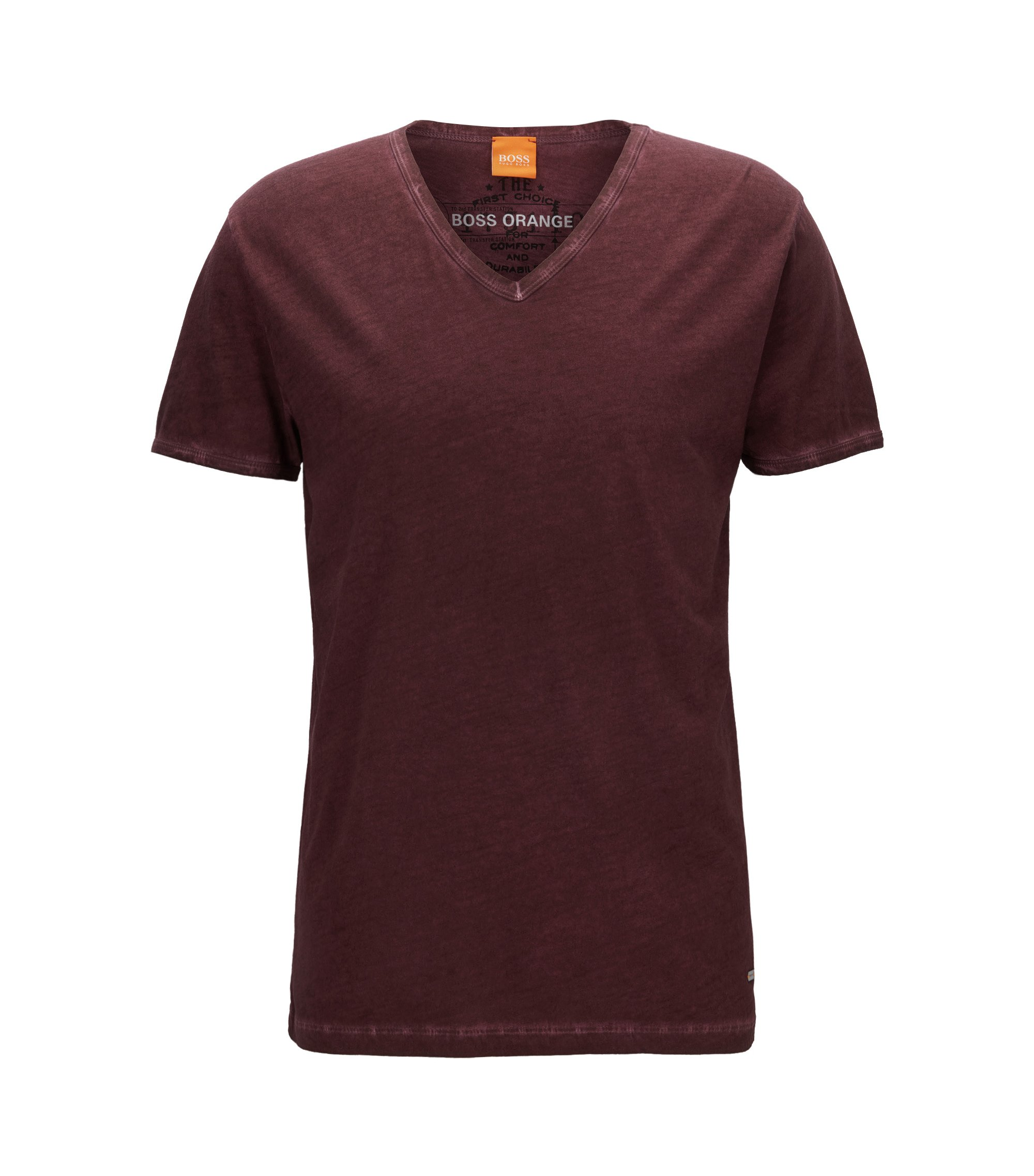 Regular-fit T-shirt in garment-dyed cotton, Dark Red