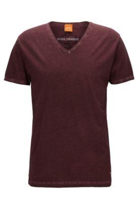 Regular-Fit T-Shirt aus stückgefärbter Baumwolle, Dunkelrot