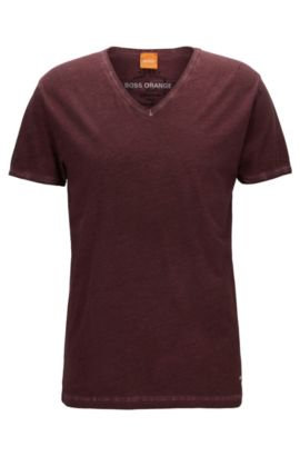 T-shirt Regular Fit en coton garment dyed, Rouge sombre