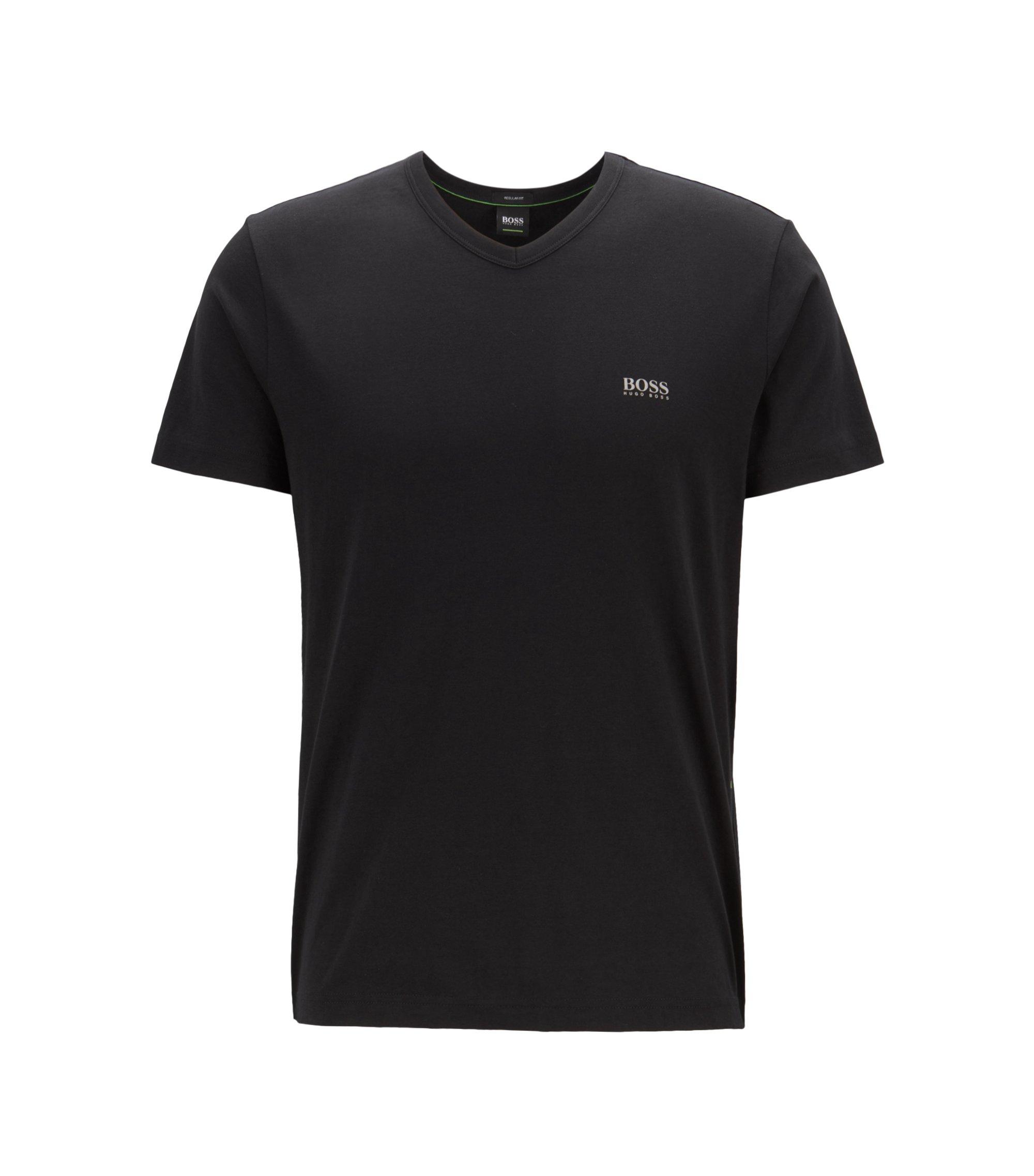 Regular-fit T-shirt met V-hals, van zachte katoen, Zwart