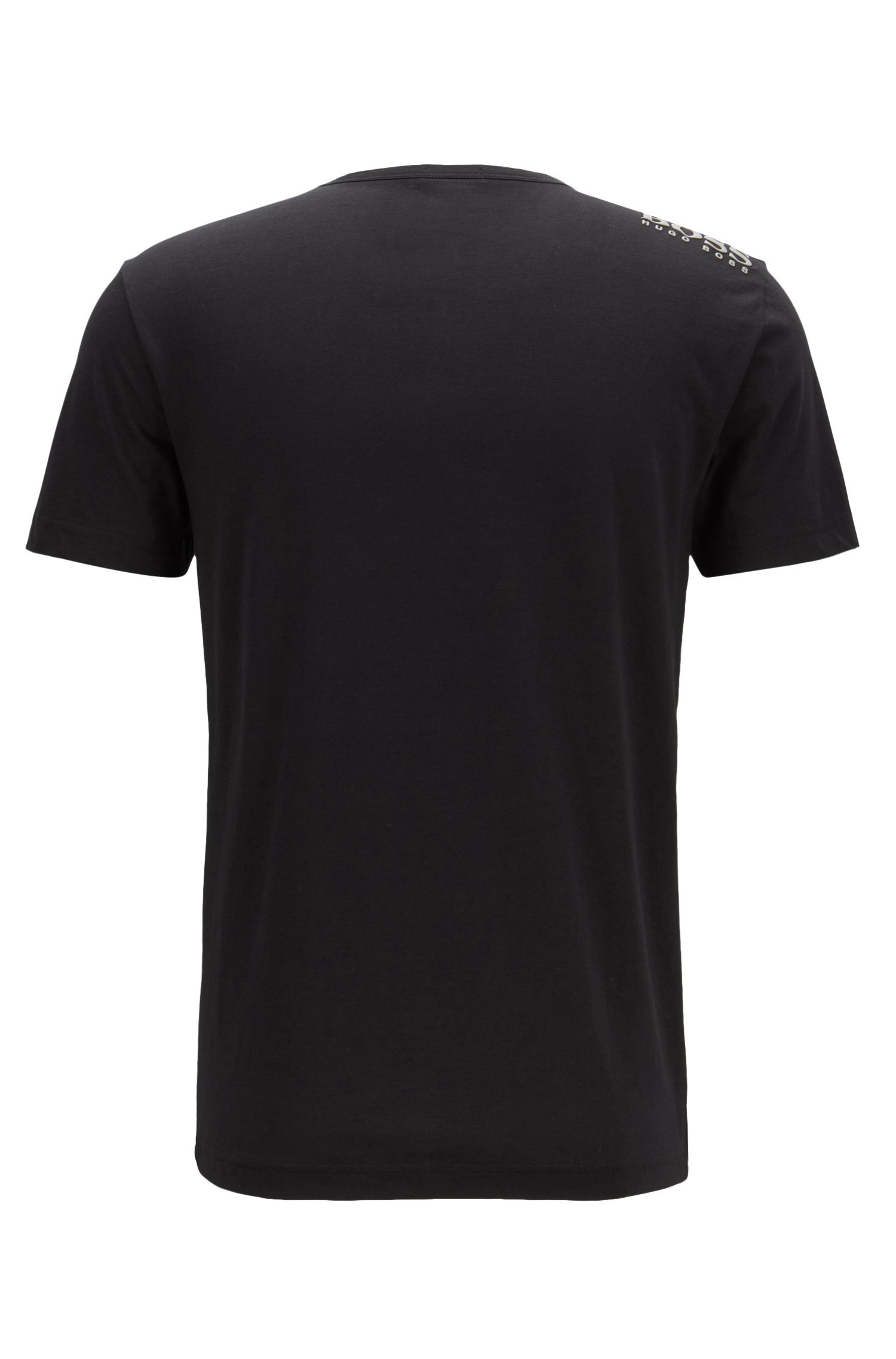 T-shirt Regular Fit à col V, en coton doux, Noir