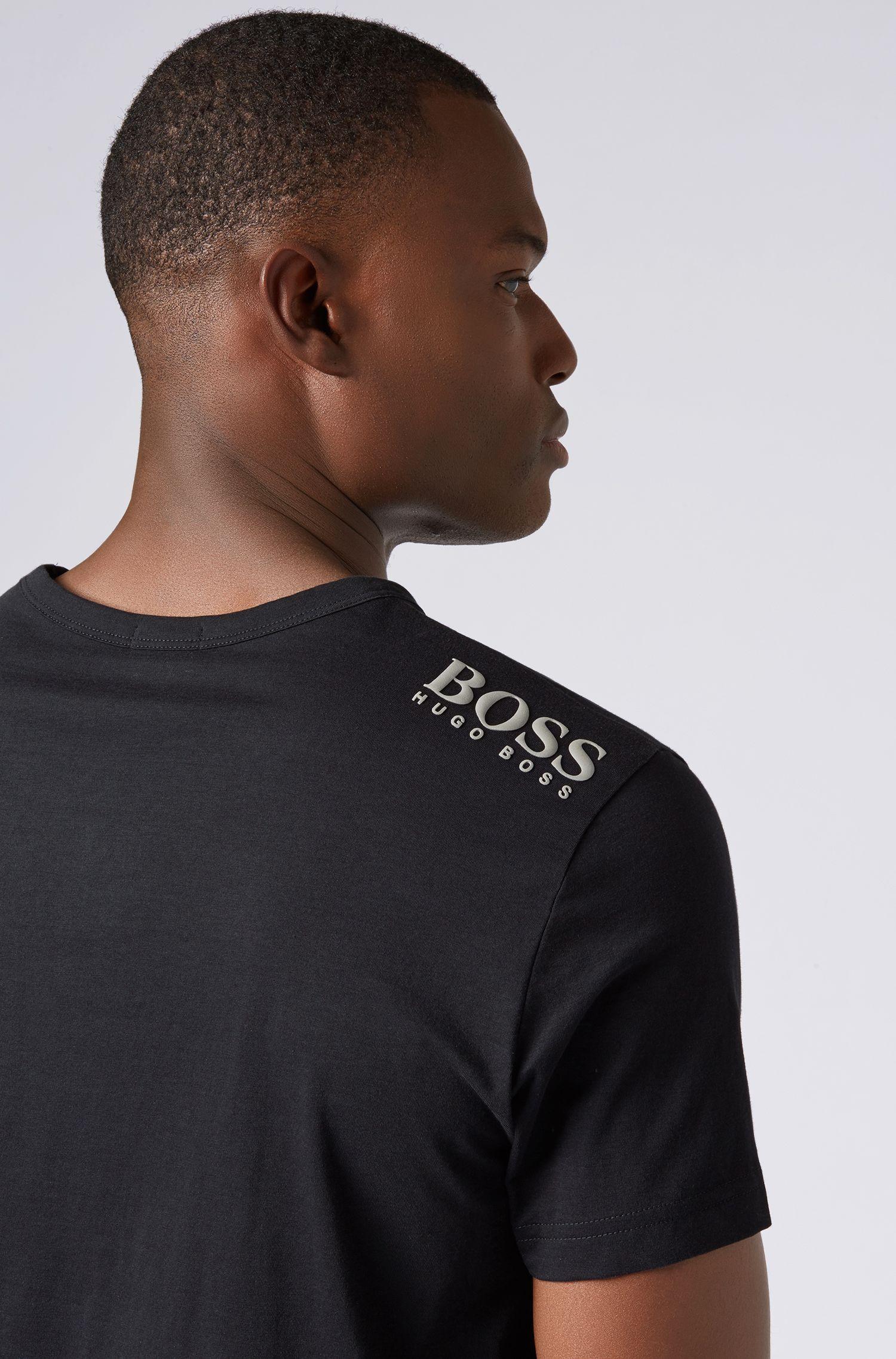 T-Shirt aus softer Baumwolle mit V-Ausschnitt, Schwarz