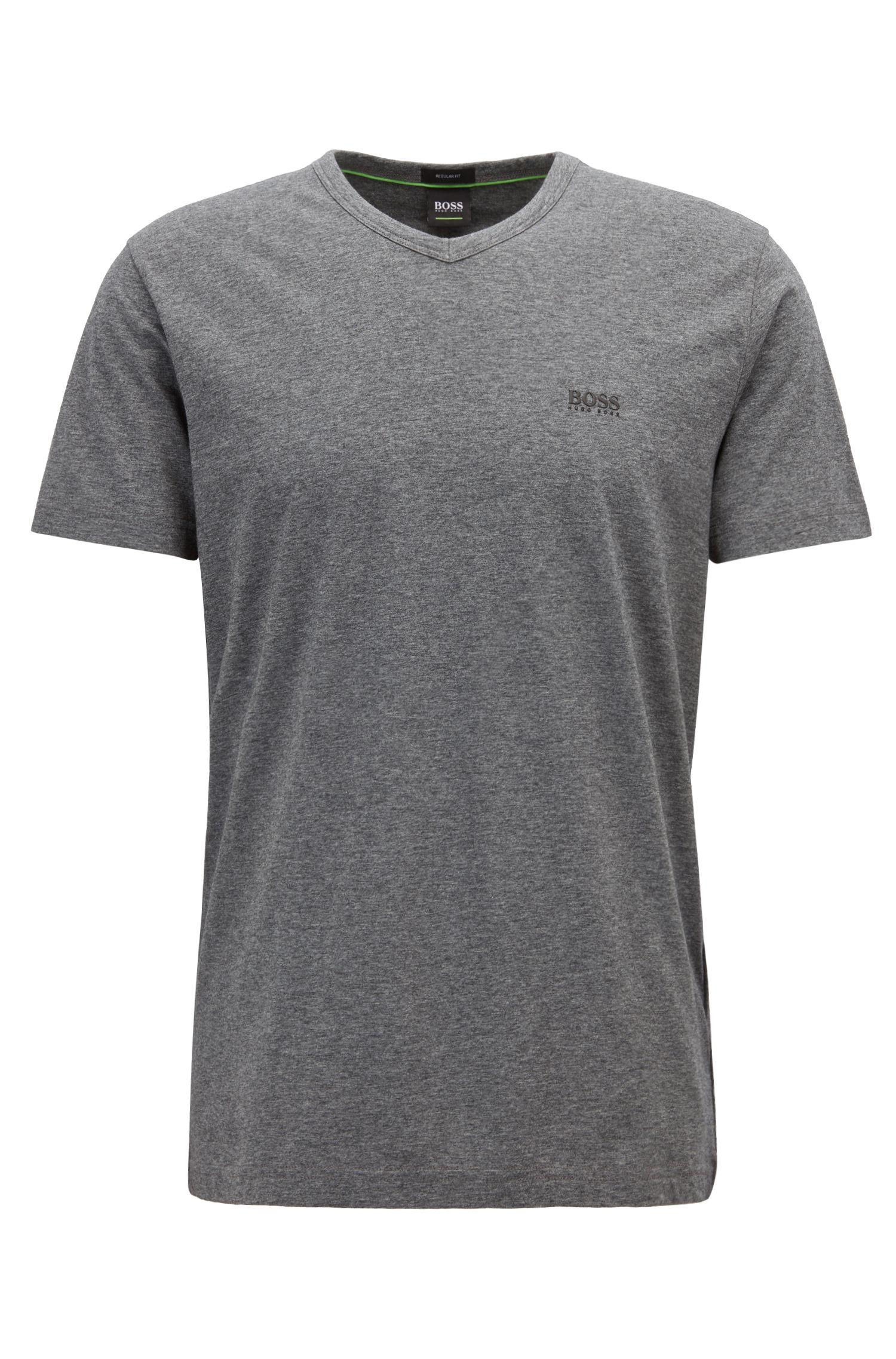 Regular-fit V-neck T-shirt in soft cotton, Grey