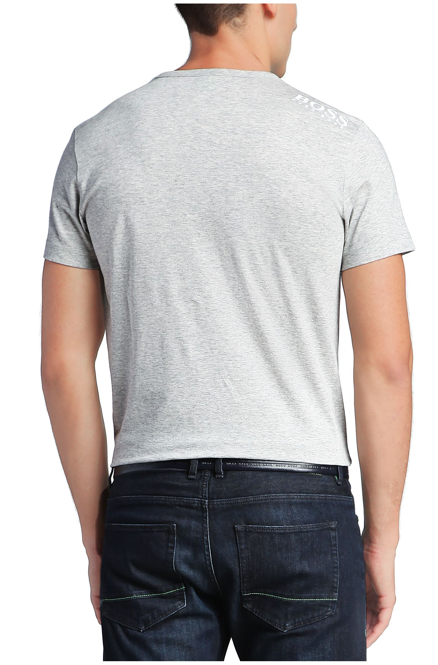 T-Shirt aus softer Baumwolle mit V-Ausschnitt, Hellgrau