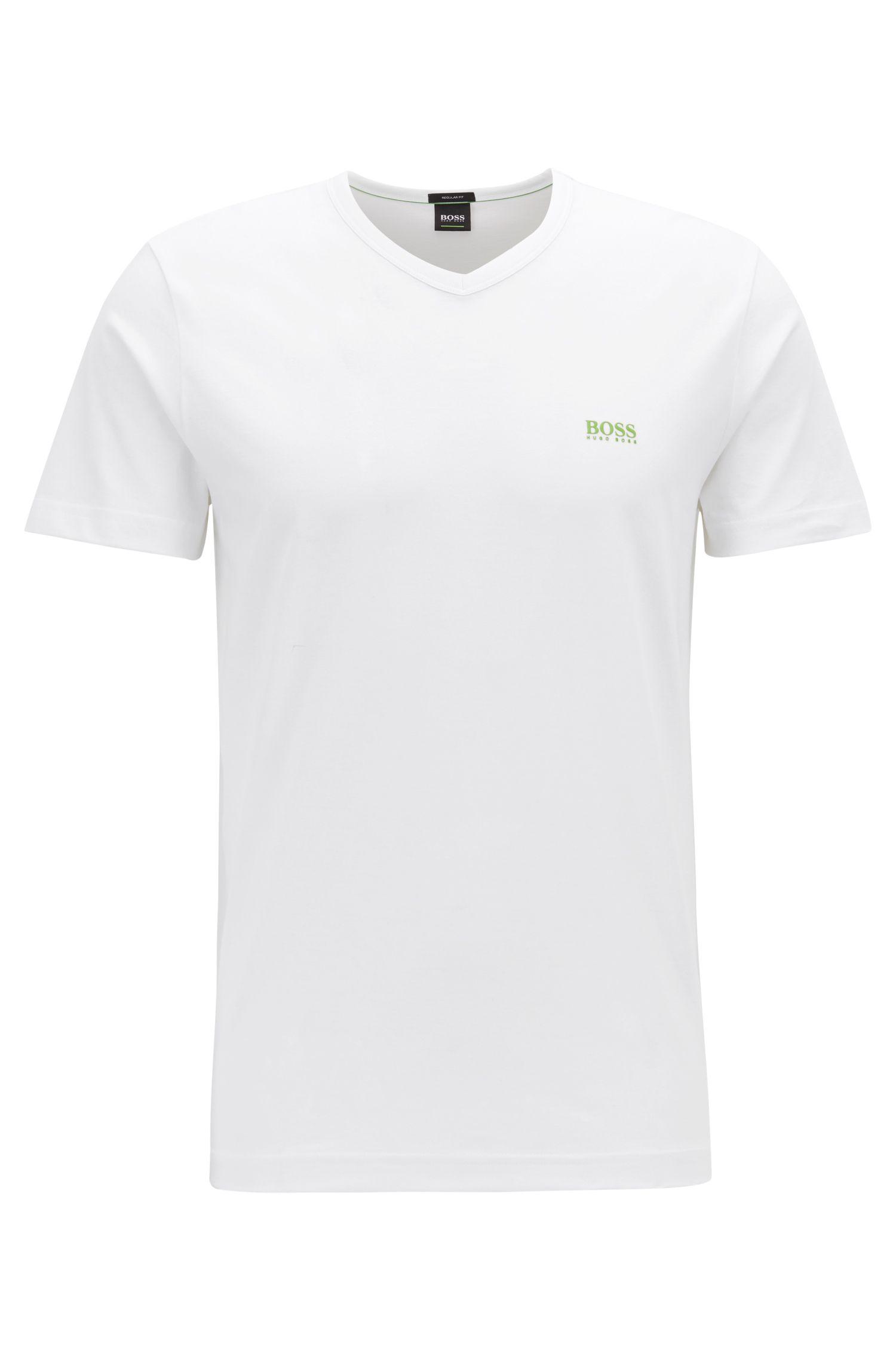 T-Shirt aus softer Baumwolle mit V-Ausschnitt, Weiß