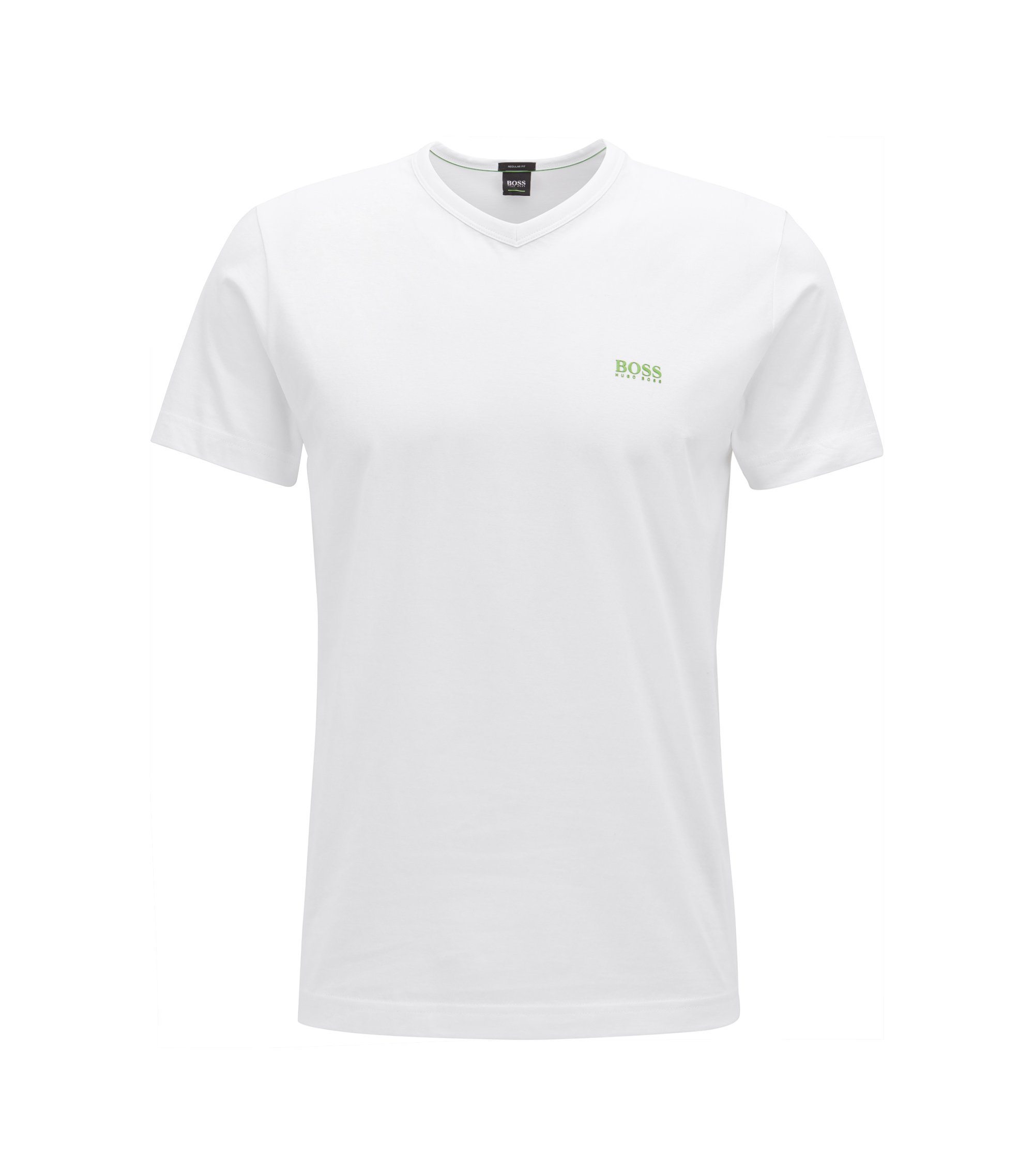 T-shirt Regular Fit à col V, en coton doux, Blanc