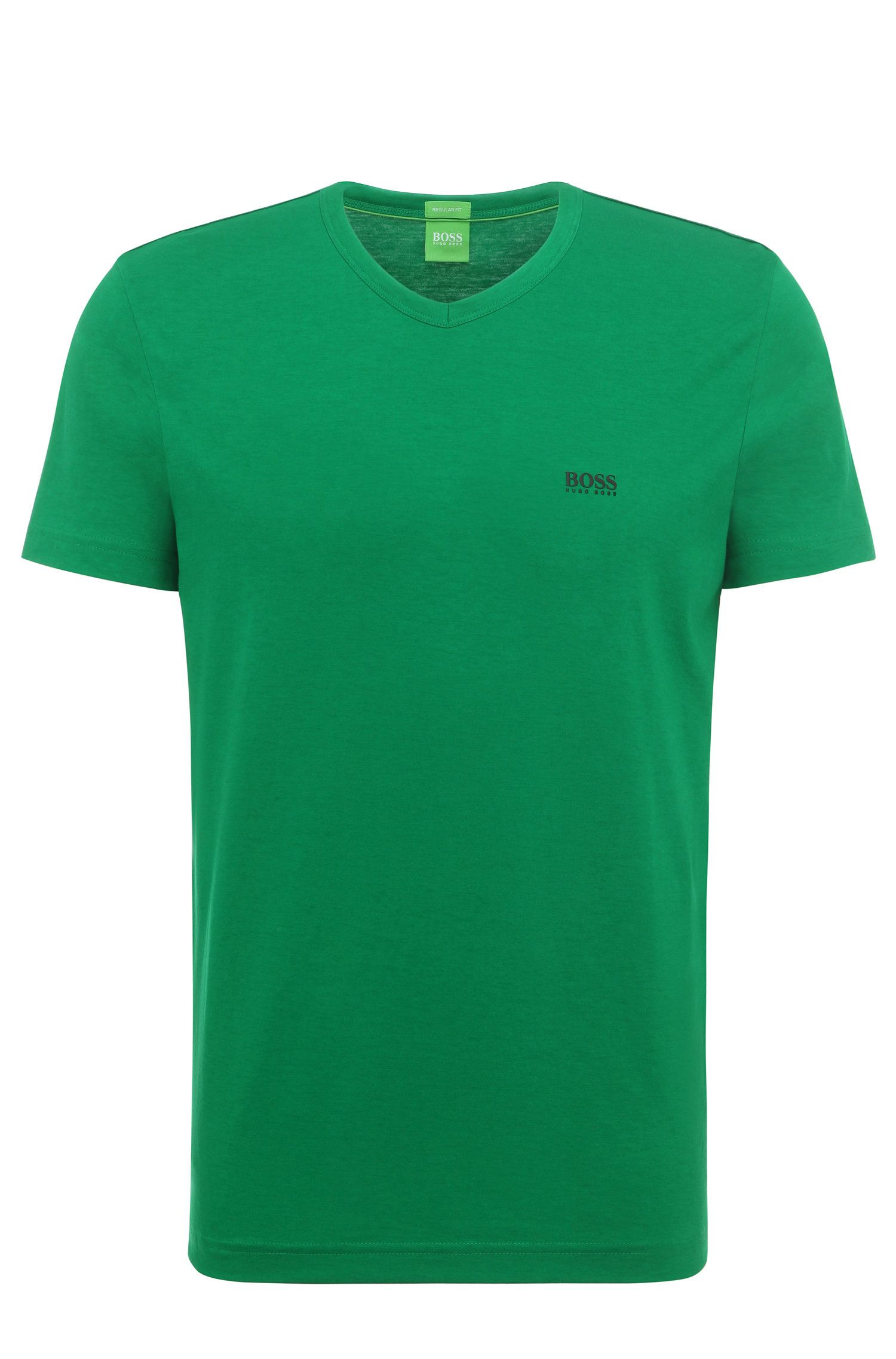 Regular-fit t-shirt in cotton with V-neck: 'Teevn'