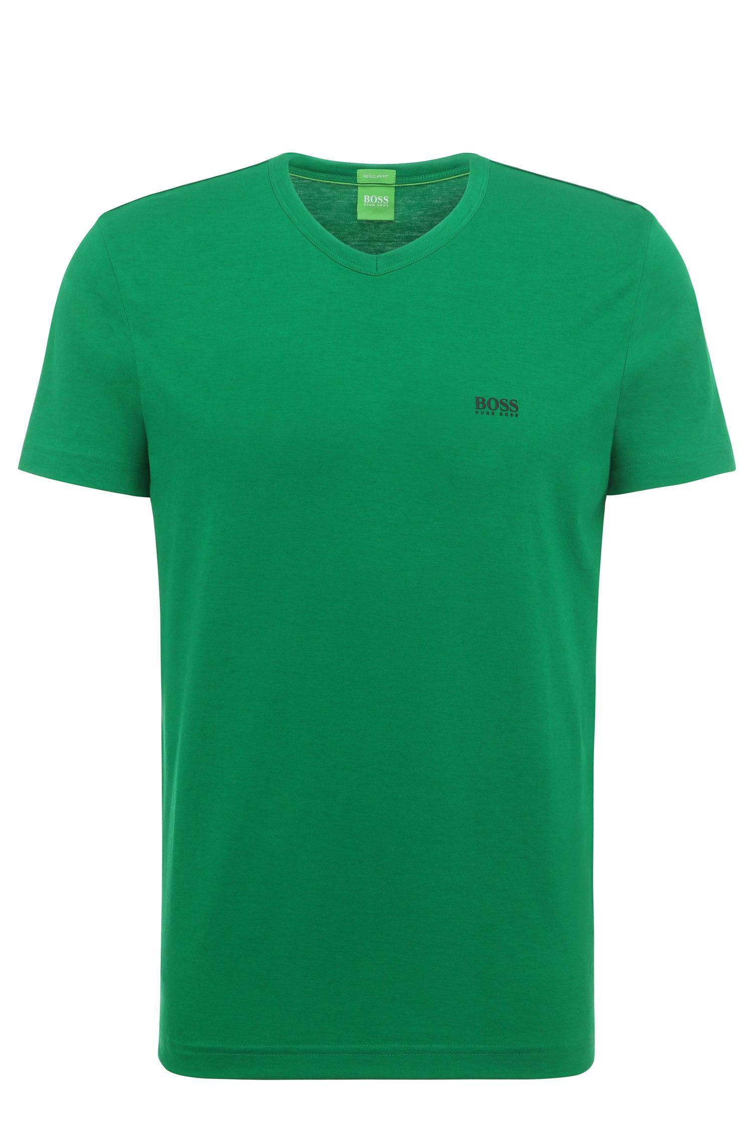 T-shirt Regular Fit en coton à col V: «Teevn»