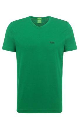 T-shirt Regular Fit en coton à col V: «Teevn» , Chaux