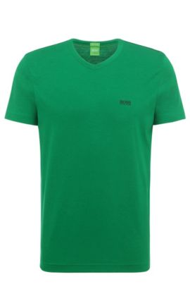 Regular-fit t-shirt in cotton with V-neck: 'Teevn' , Open Green