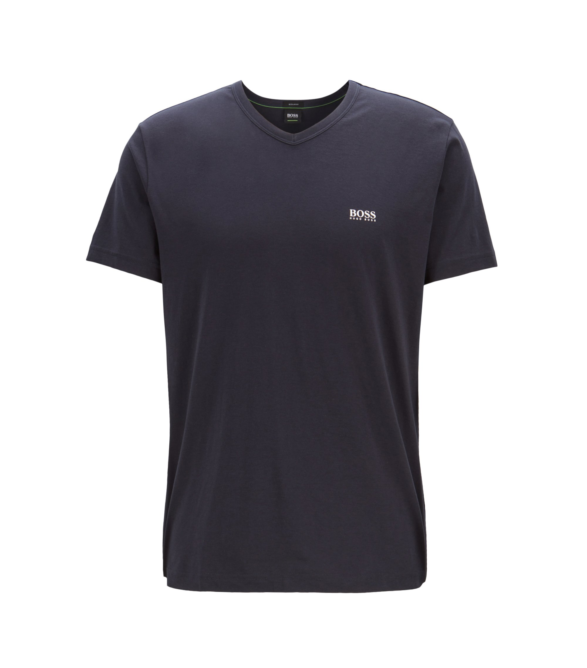 T-shirt Regular Fit à colV, en coton doux, Bleu foncé