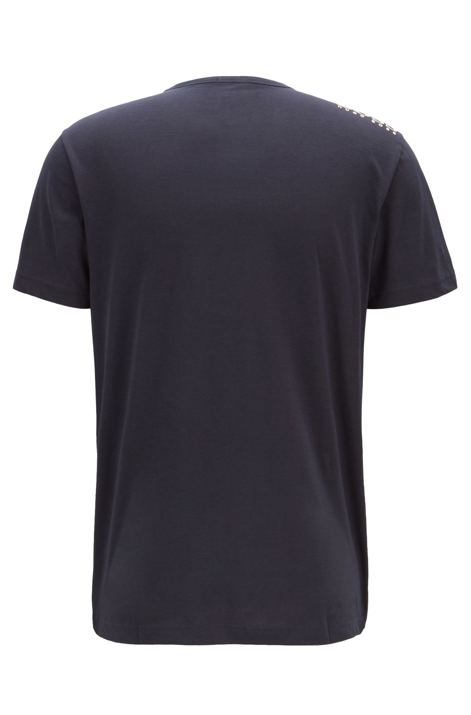 Regular-fit V-neck T-shirt in soft cotton, Dark Blue