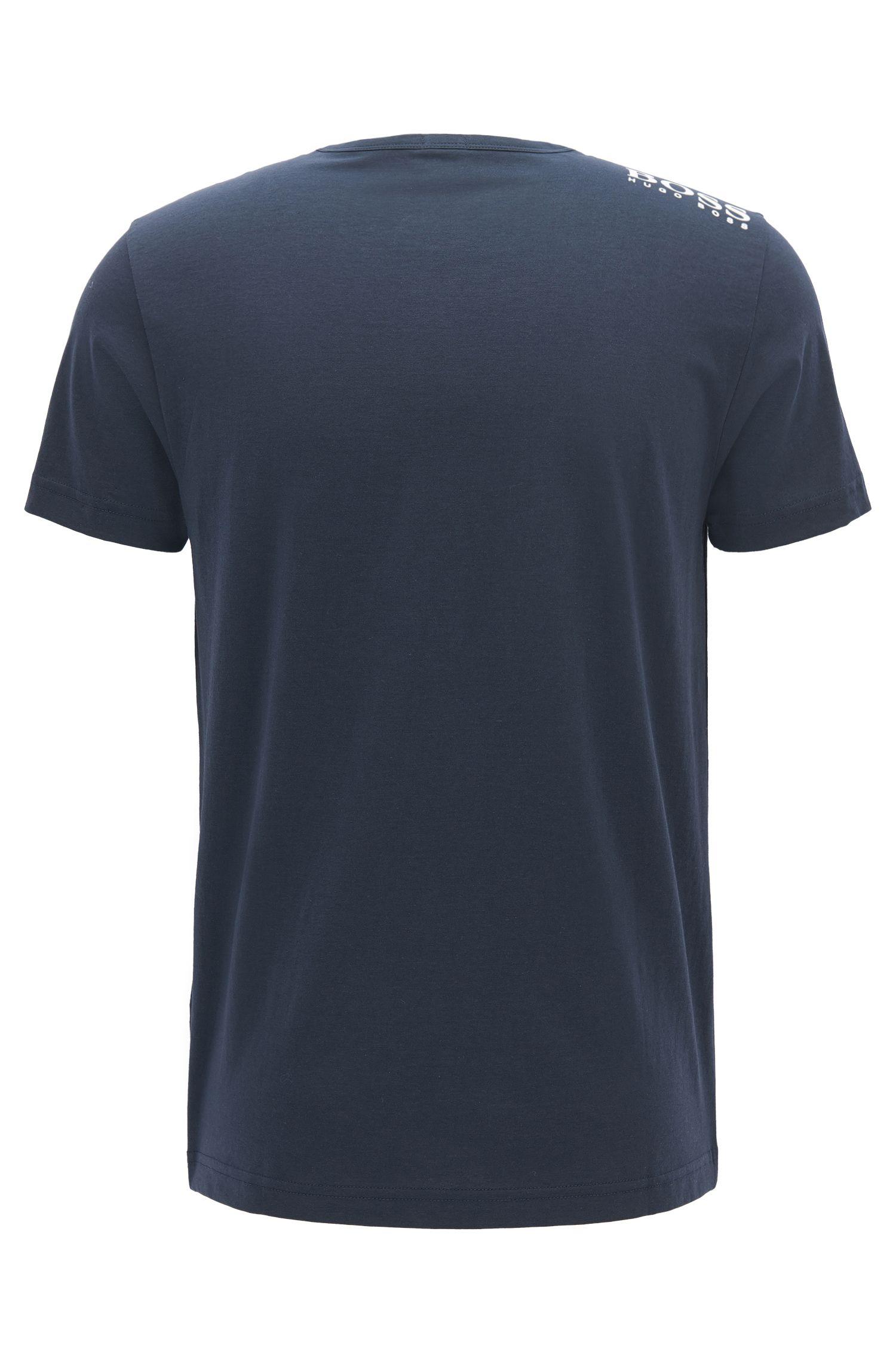 T-shirt regular fit con scollo a V in morbido cotone, Blu scuro