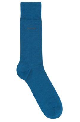 Chaussettes en laine mélangée extensible: «John», Bleu