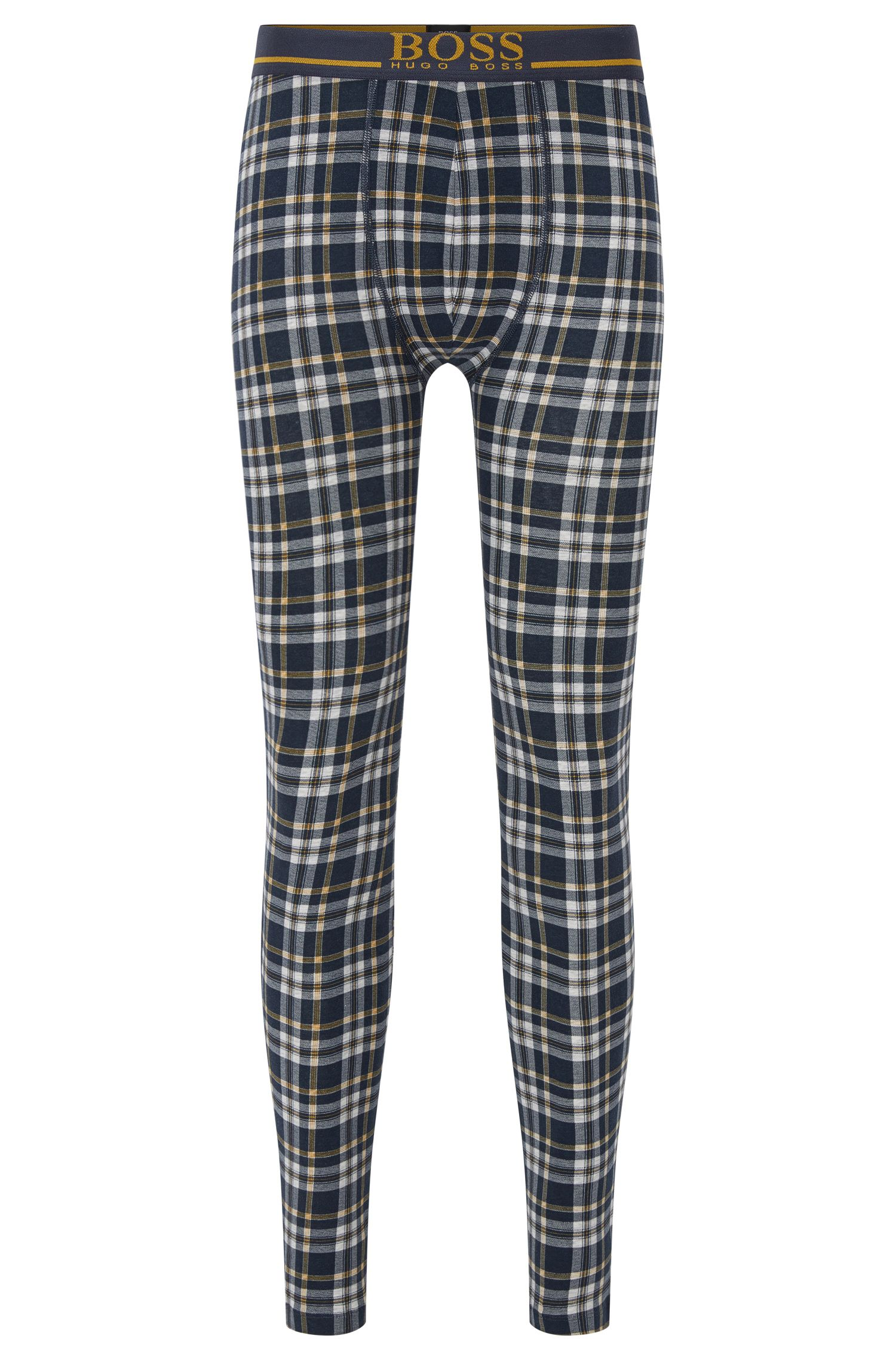 Checked long johns in stretch-cotton jersey