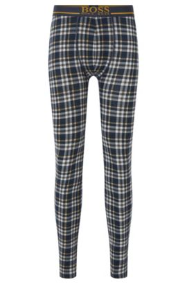 Checked long johns in stretch-cotton jersey, Dark Blue