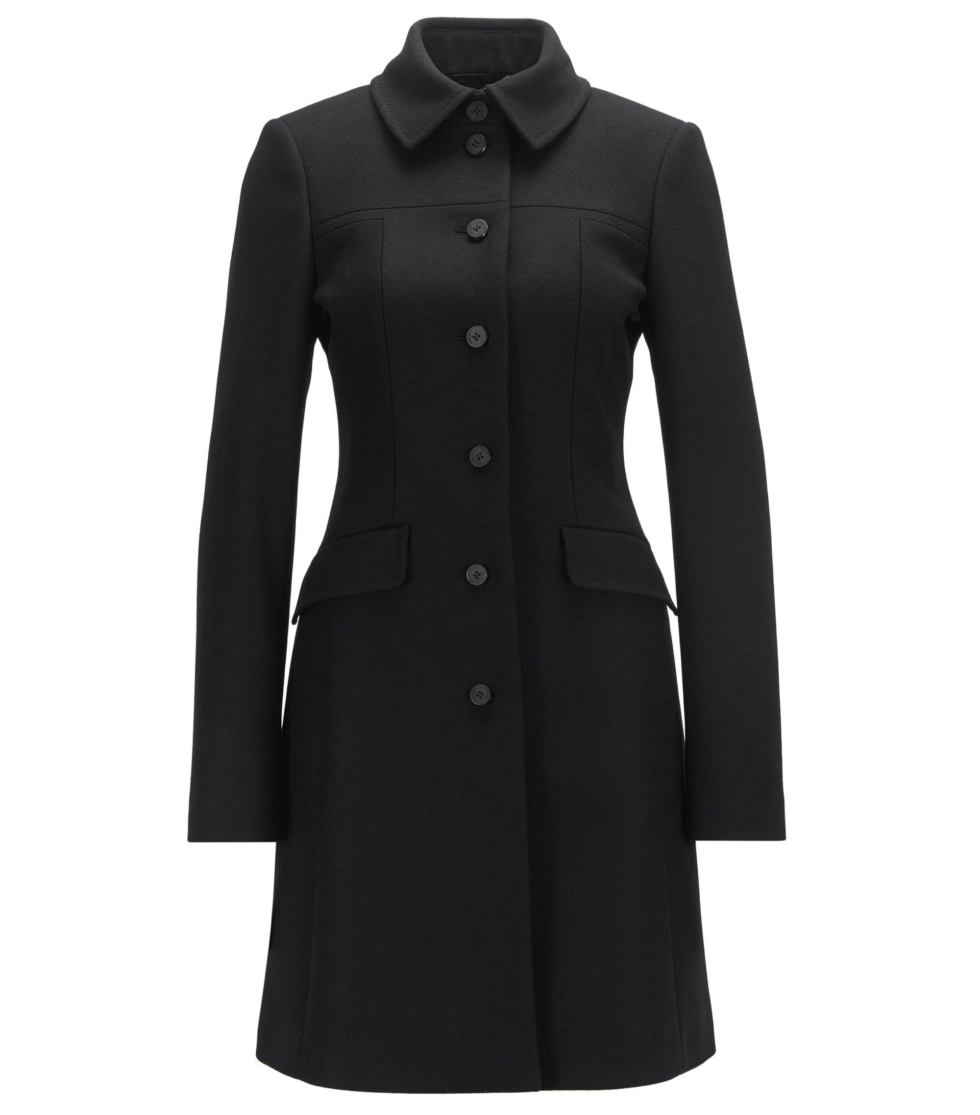 Manteau Slim Fit habillé en laine vierge mélangée, Noir