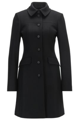 Formal slim-fit coat in a virgin wool blend, Black