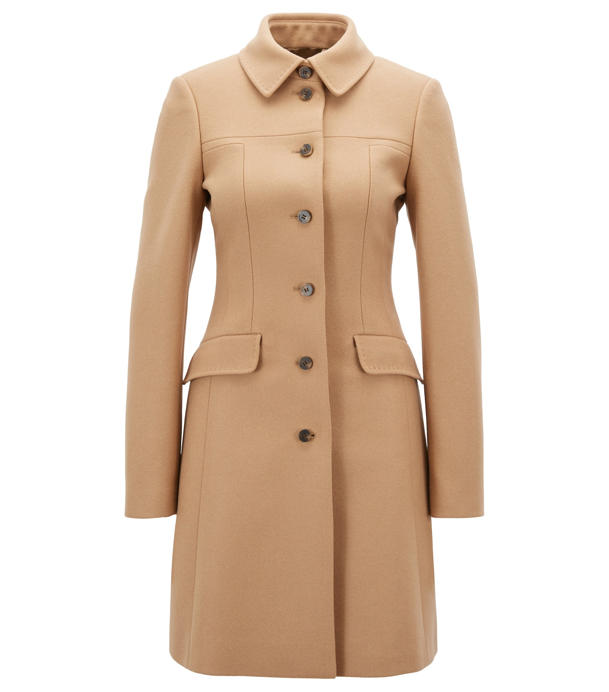 Formal slim-fit coat in a virgin wool blend, Light Brown