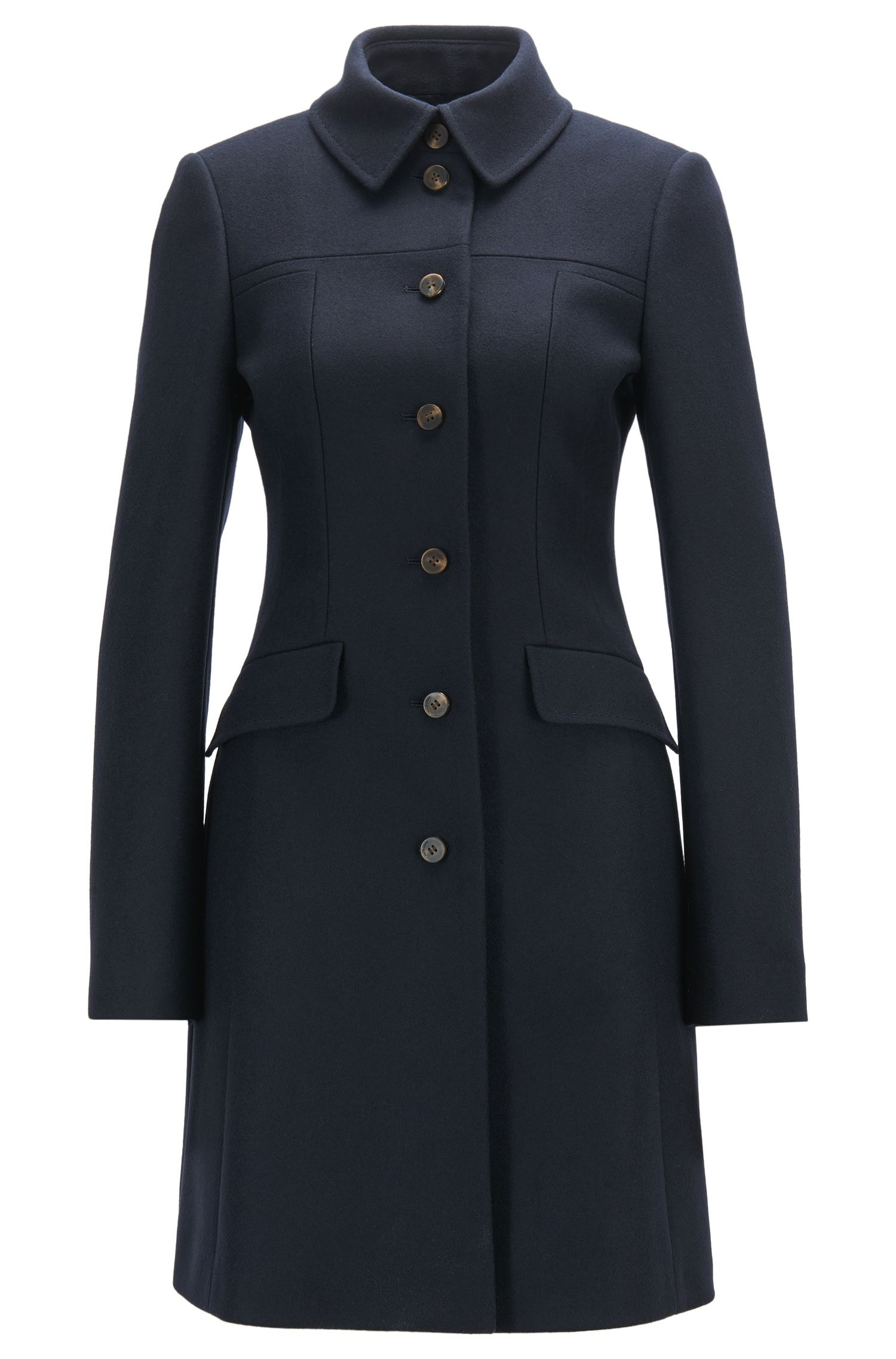 Formal slim-fit coat in a virgin wool blend