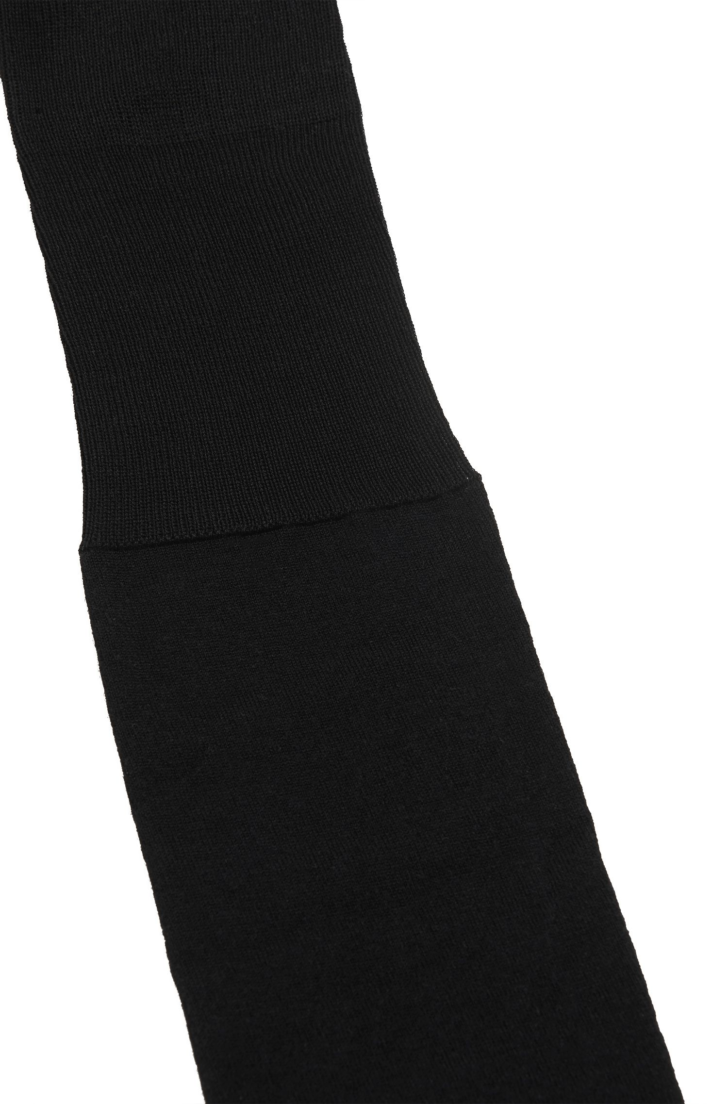 Mercerised-cotton knee-high socks with reinforced heel , Black