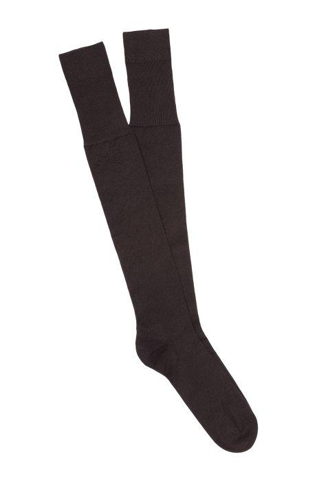 Mercerised-cotton knee-high socks with reinforced heel , Dark Brown