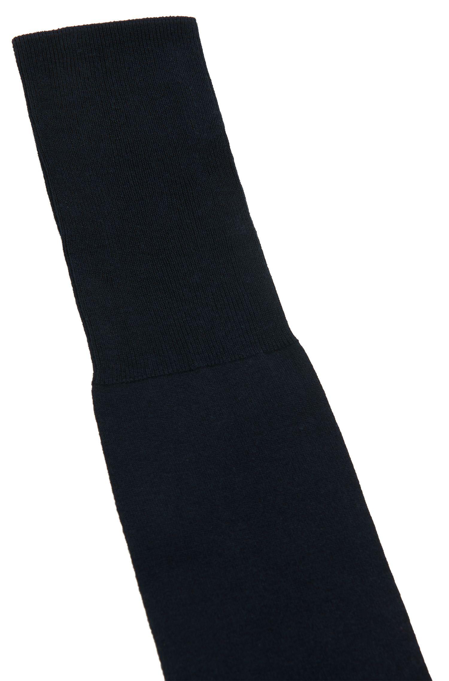Mercerised-cotton knee-high socks with reinforced heel , Dark Blue