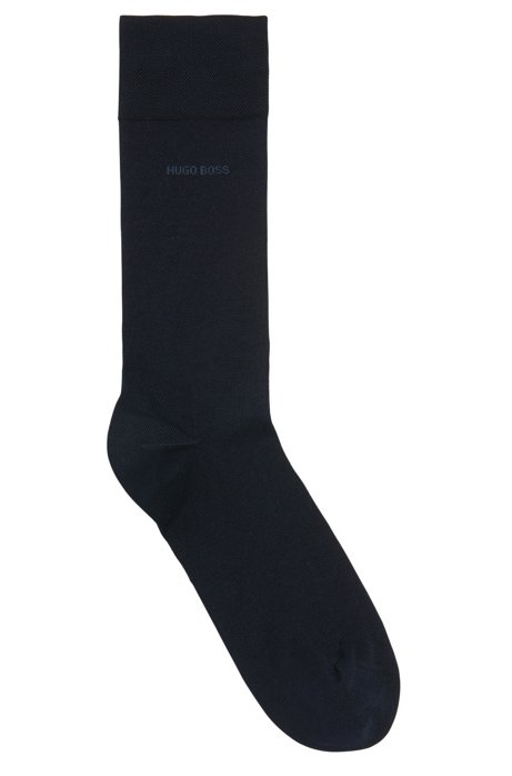 Mercerised cotton socks with hand-linked toes, Dark Blue