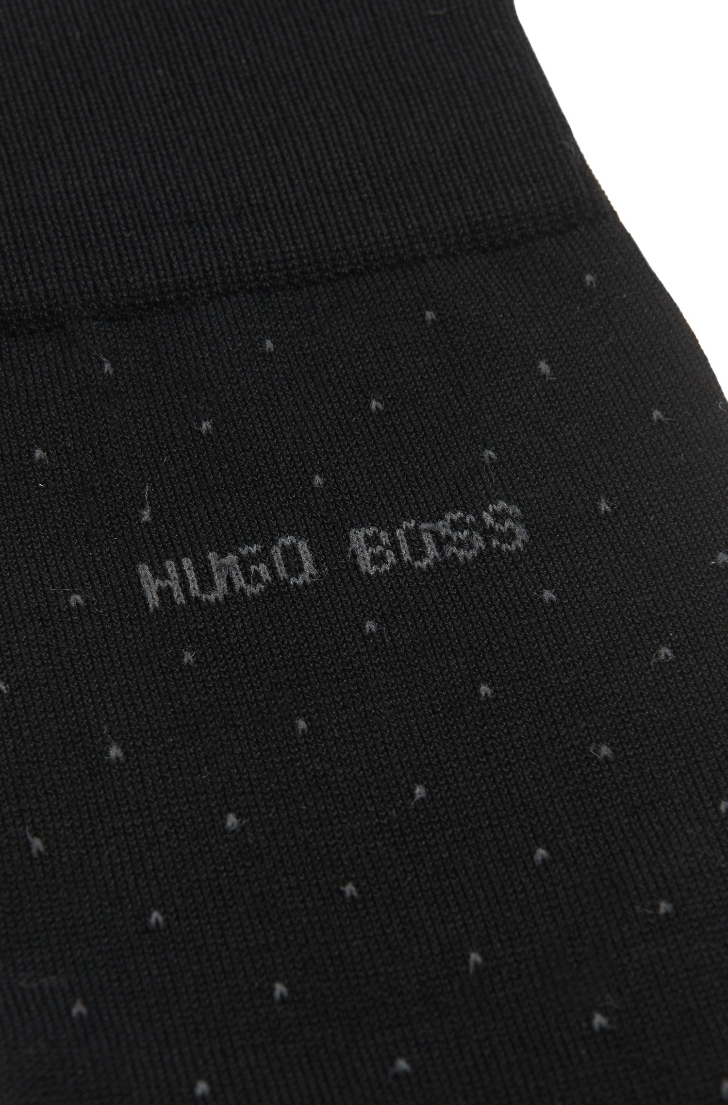 Mercerised-cotton blend socks with micro dots, Black