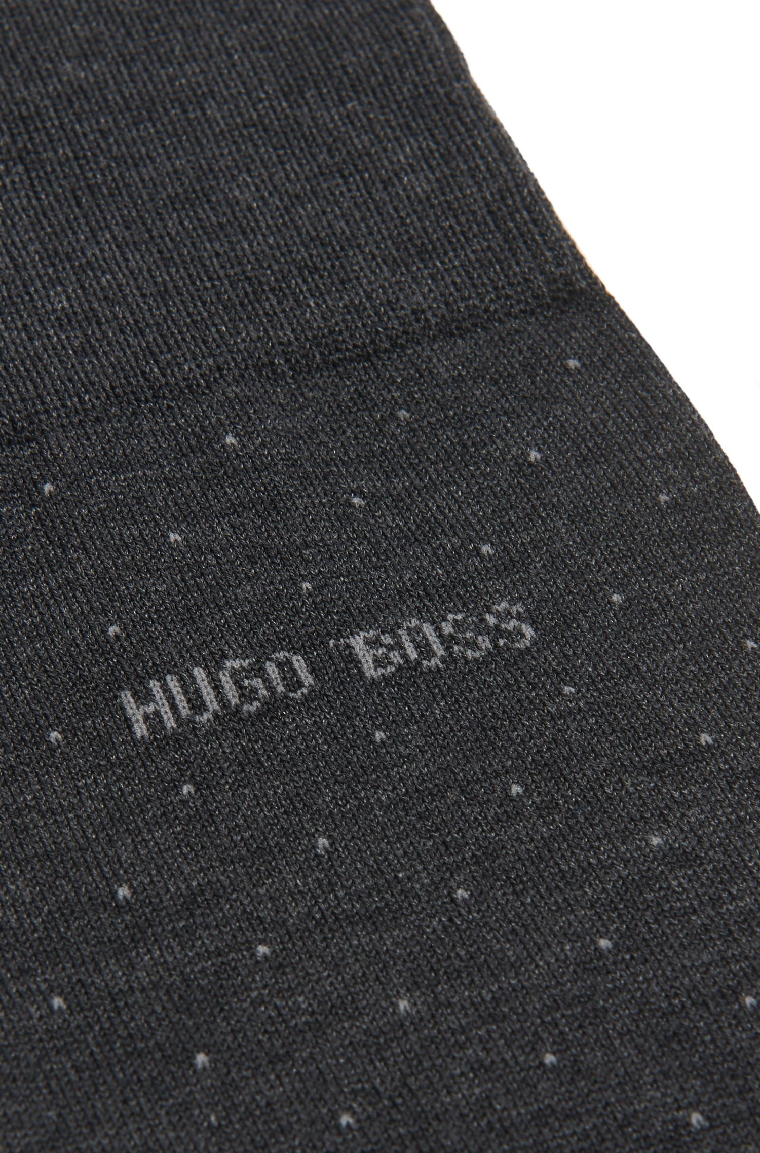Mercerised-cotton blend socks with micro dots, Anthracite