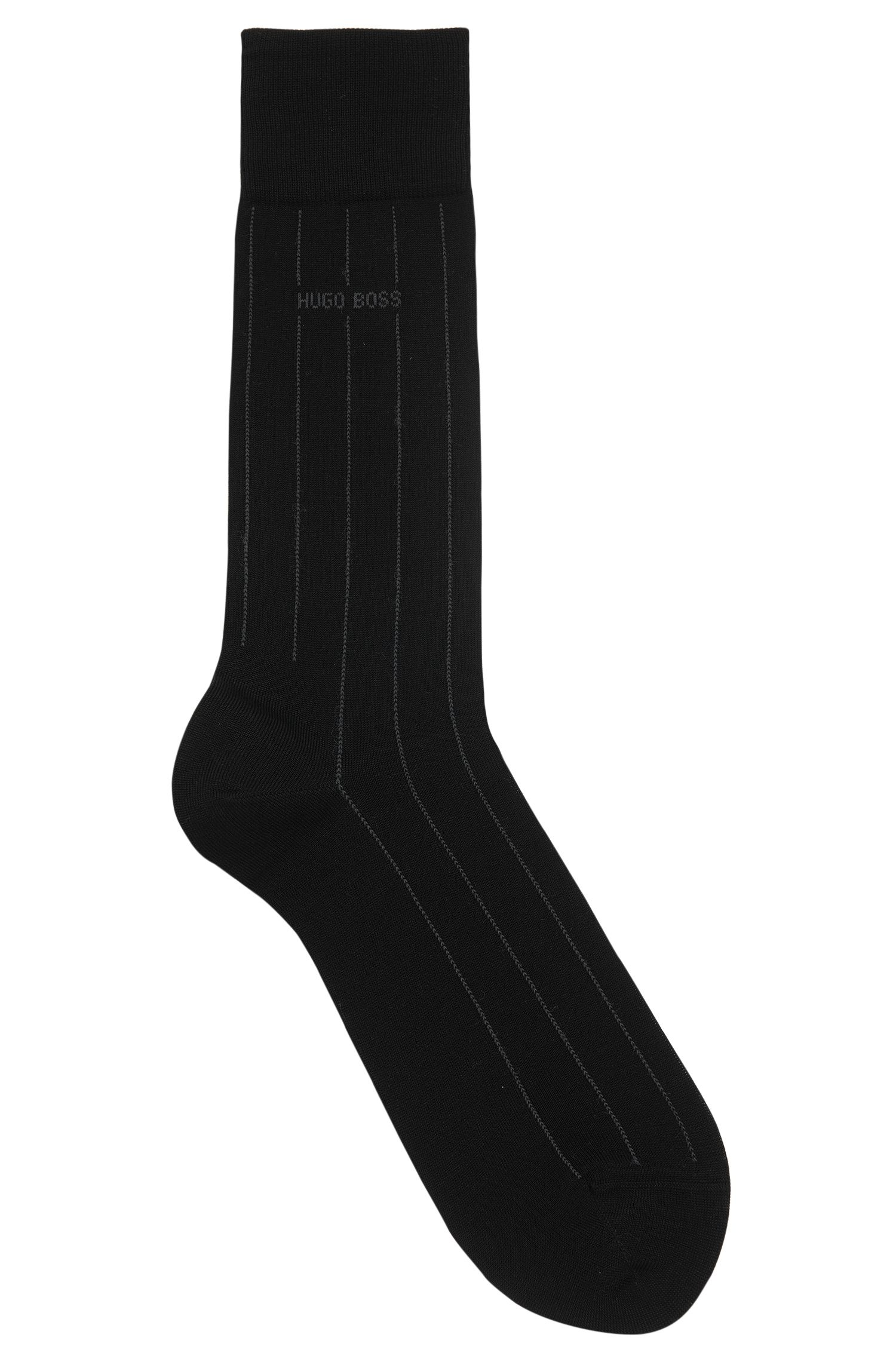 Mercerised-cotton blend socks with stripe detail, Black