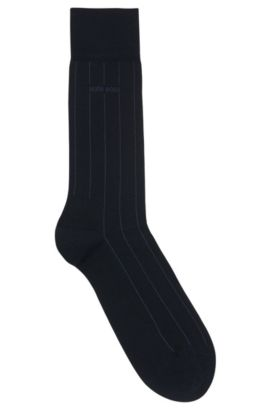 Mercerised-cotton blend socks with stripe detail, Dark Blue