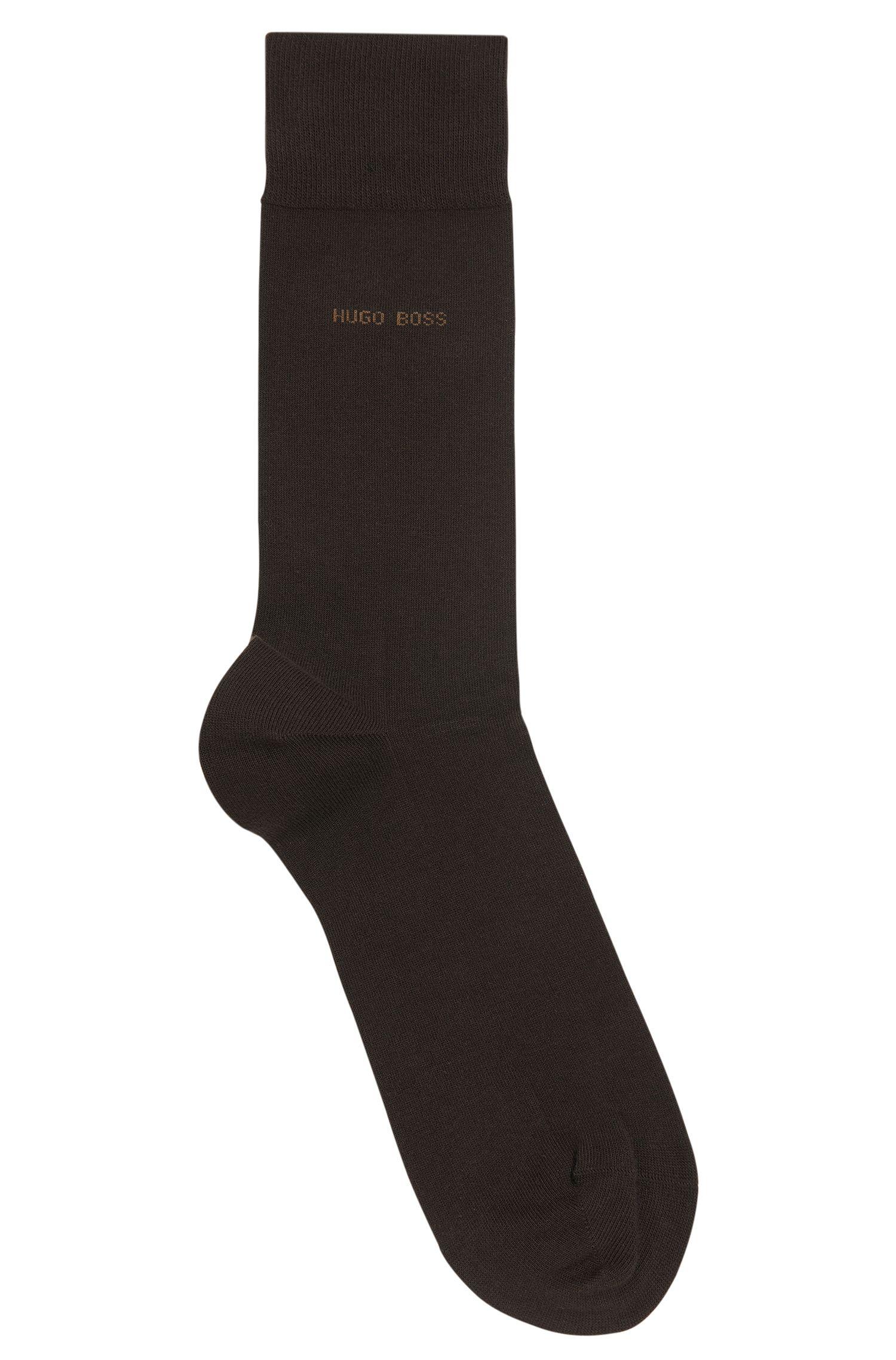 Socken aus Stretch-Baumwolle mit handgekettelter Spitze, Dunkelbraun