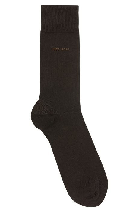 Stretch cotton socks with hand-linked toes, Dark Brown