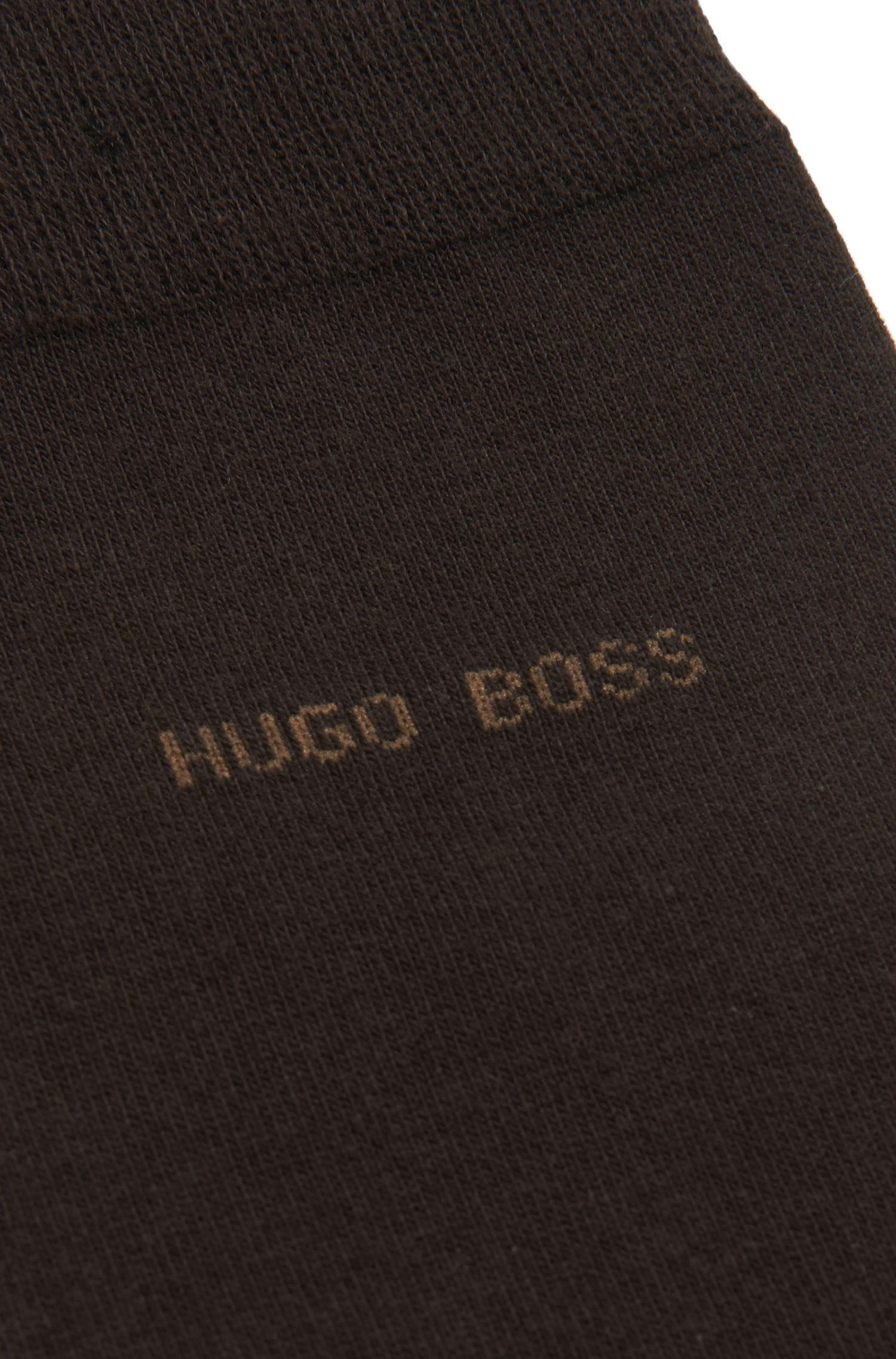 Calcetines de algodón elástico con punteras remalladas a mano, Marrón oscuro