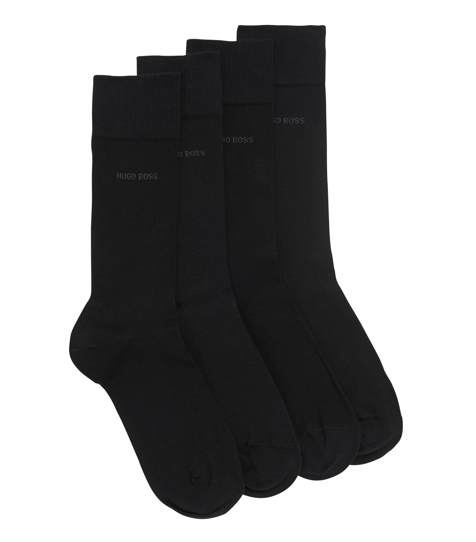 Two pack of regular-length cotton blend socks, Black