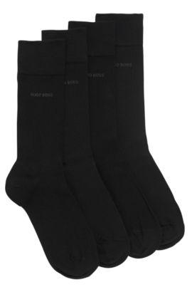 Chaussettes en coton mélangé de longueur normale, en lot de deux, Noir