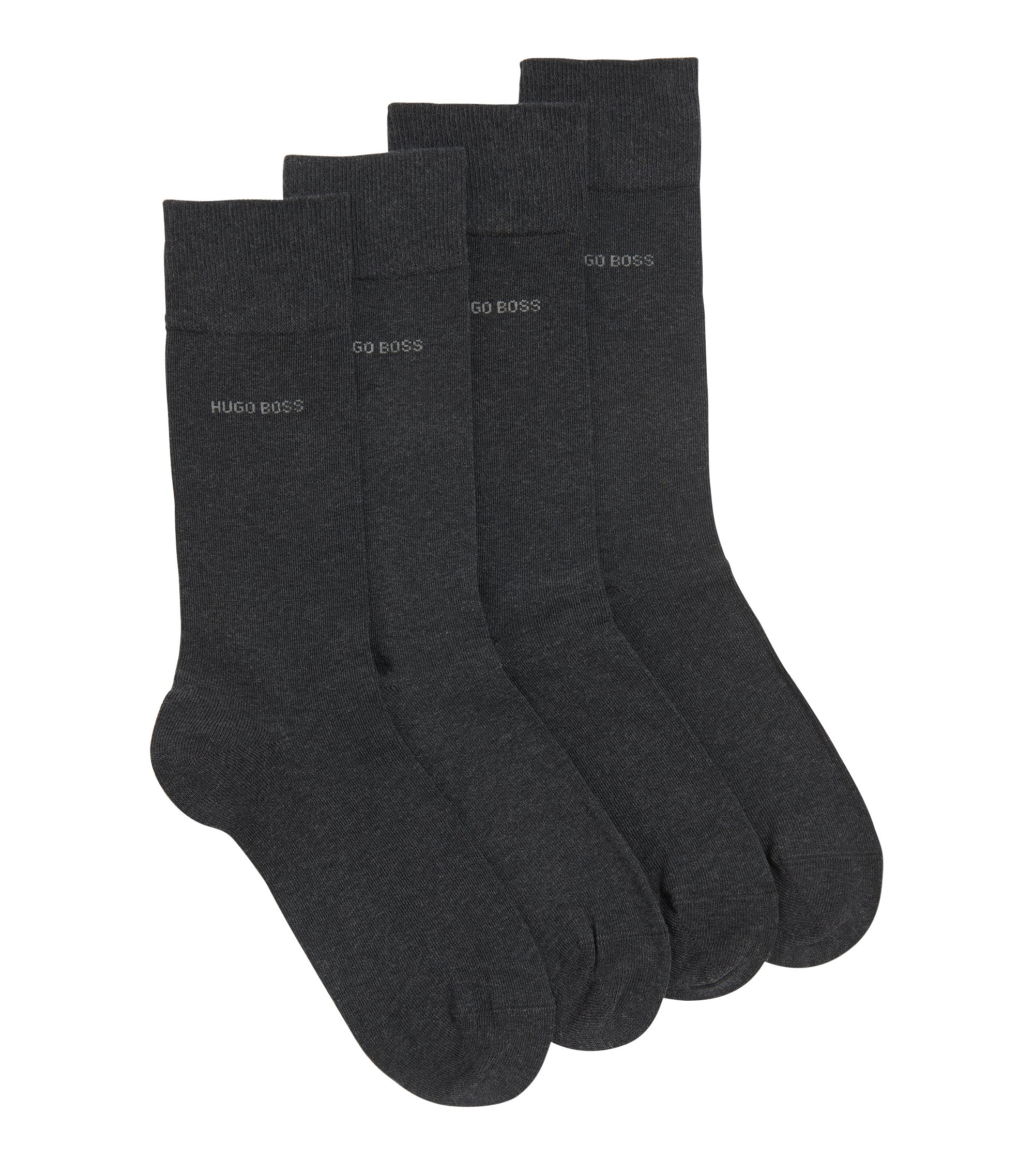 Two pack of regular-length cotton blend socks, Anthracite