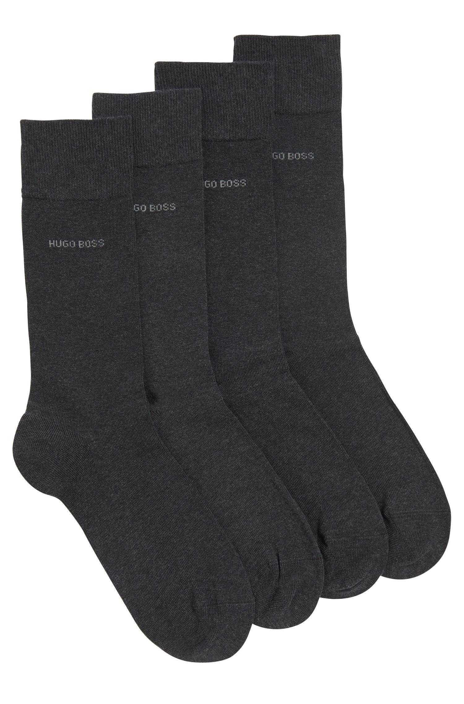 Zweier-Pack Socken aus elastischem Baumwoll-Mix , Anthrazit