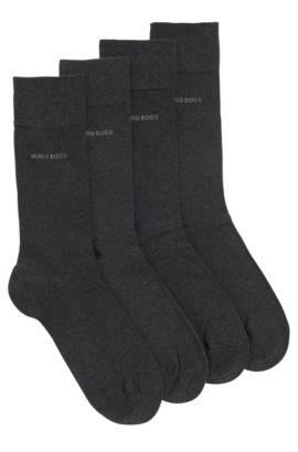 Set van twee paar sokken van een katoenmix met een normale lengte, Antraciet