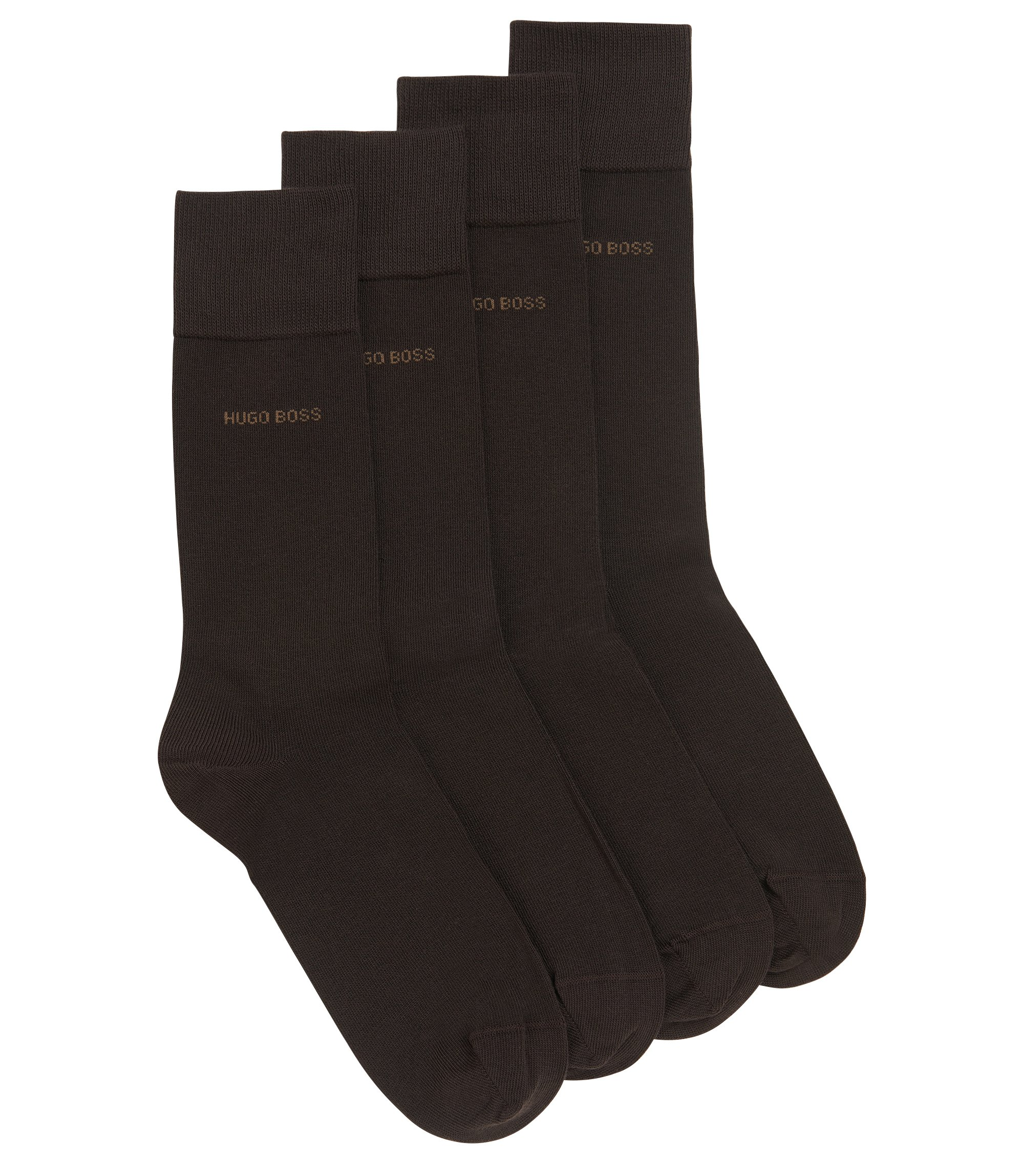 Two pack of regular-length cotton blend socks, Dark Brown