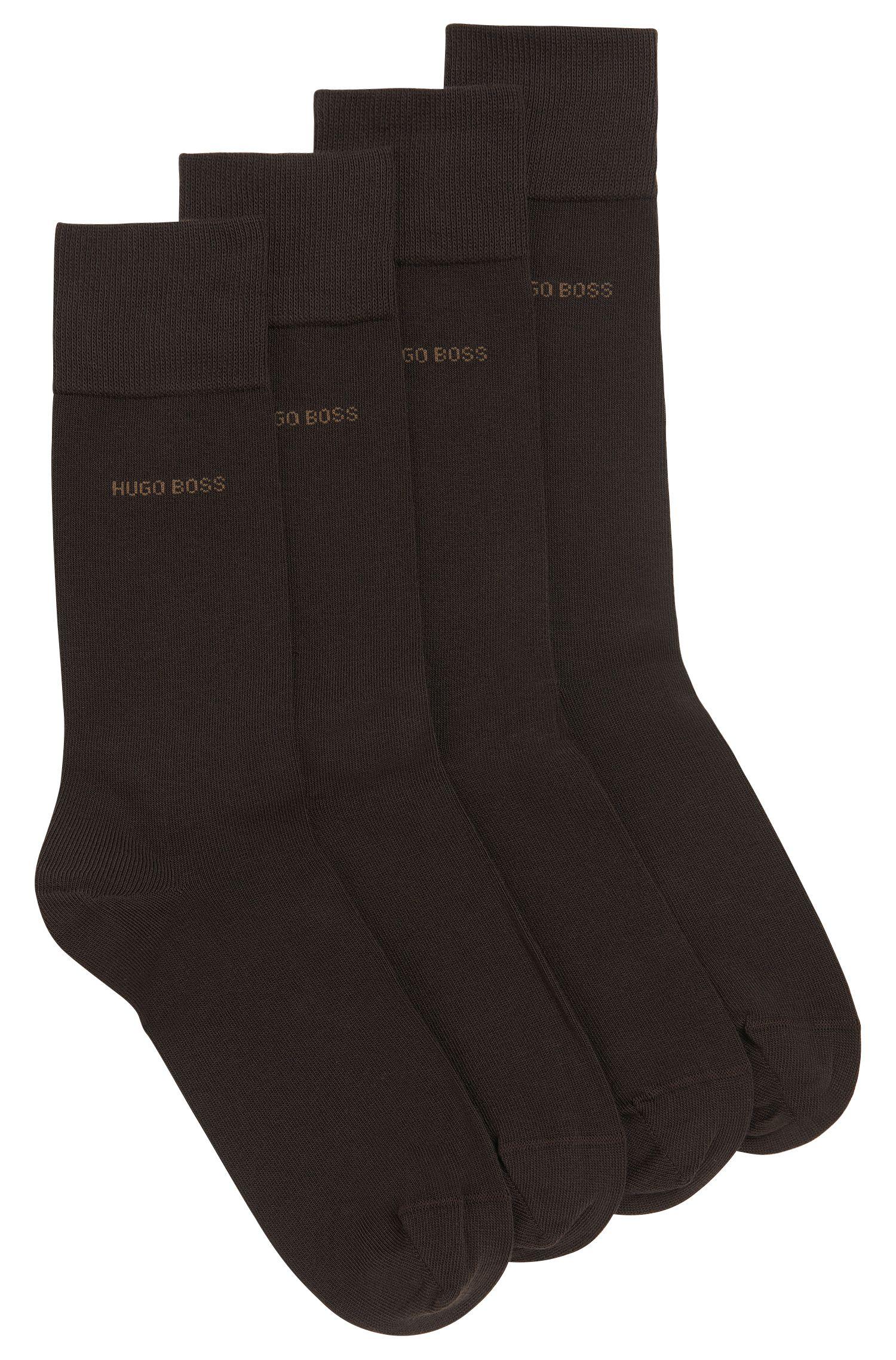 Zweier-Pack Socken aus elastischem Baumwoll-Mix , Dunkelbraun