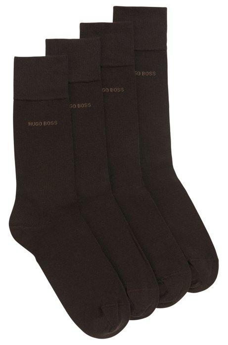 Two pack of regular-length cotton blend socks, Dark Brown