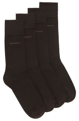 Chaussettes en coton mélangé de longueur normale, en lot de deux, Marron foncé