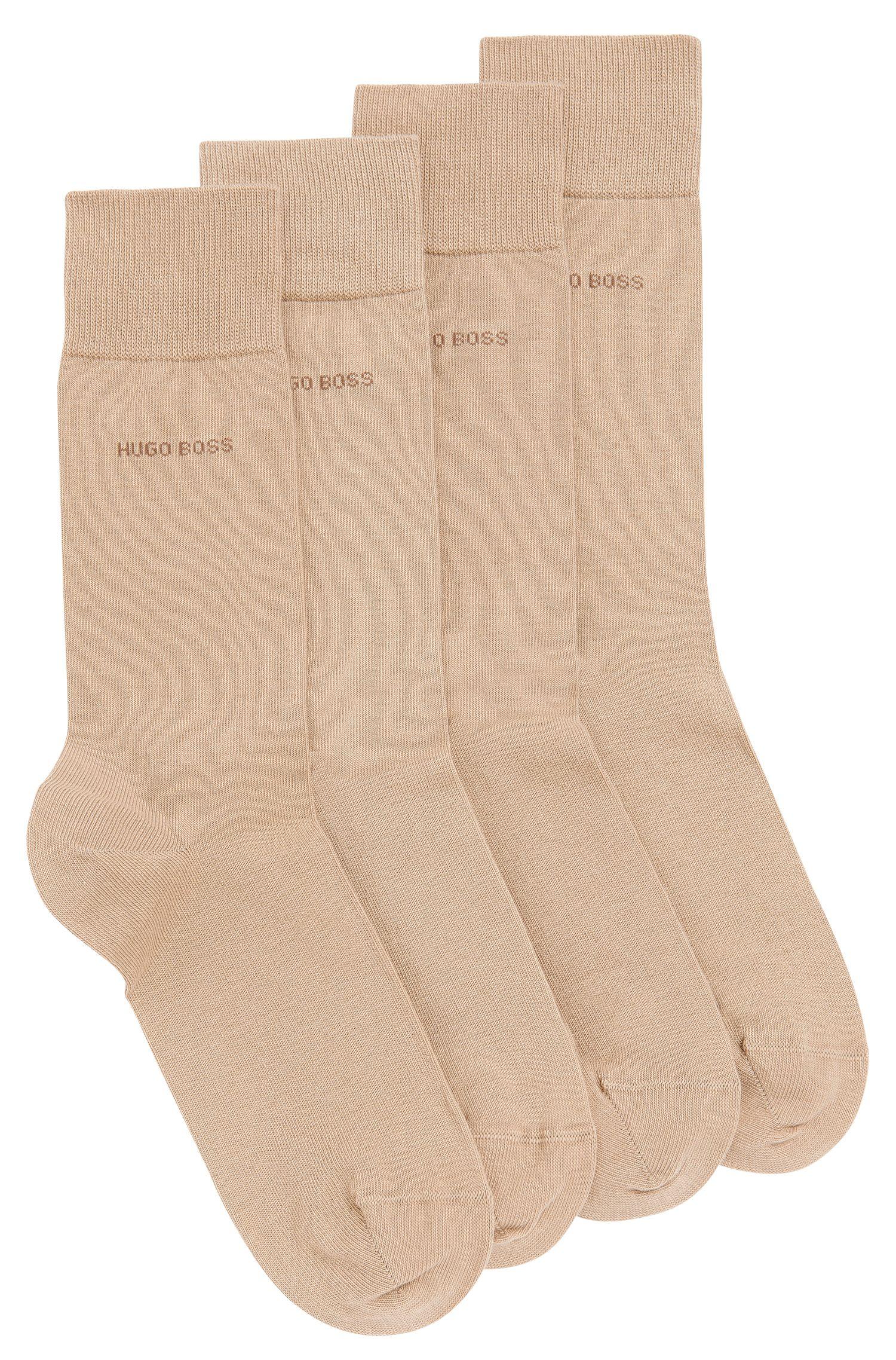Zweier-Pack Socken aus elastischem Baumwoll-Mix , Beige