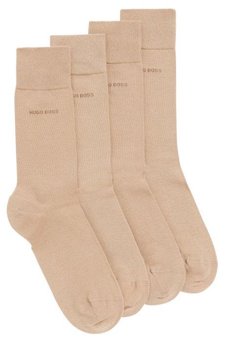 Two pack of regular-length cotton blend socks, Beige