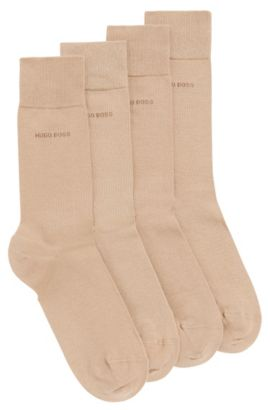 Two pack of regular-length cotton blend socks, Beige