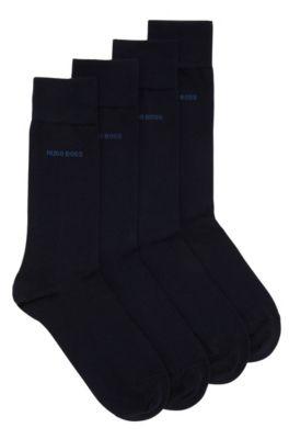 Chaussettes en coton mélangé de longueur normale, en lot de deux, Bleu foncé