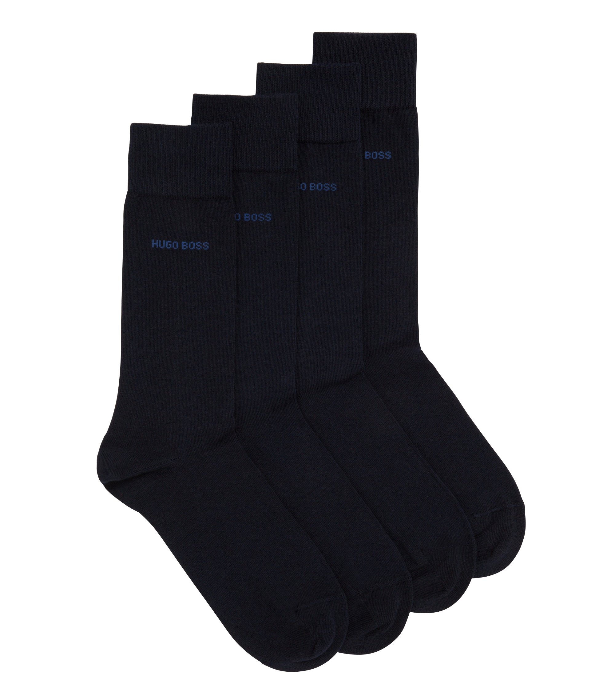 Two pack of regular-length cotton blend socks, Dark Blue