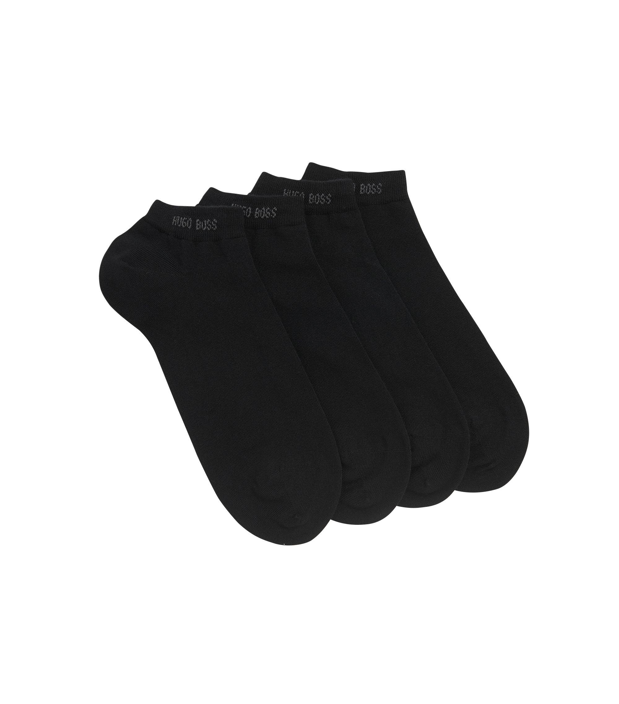 Lot de deux paires de chaussettes basses, en coton mélangé, Noir